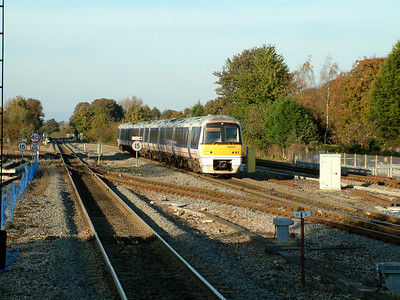 168003 hurries through Princes Risborough on the 4th November 2006