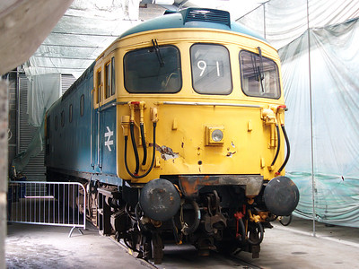 33108 shows off some front end damage as it stands in one of the sheds at Barrow Hill on the 15th july 2007