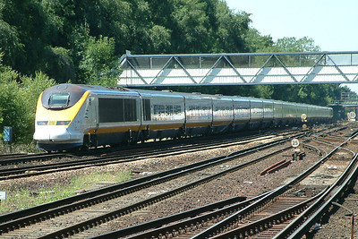 A Eurostar passes Orpington on the 14th July 2003