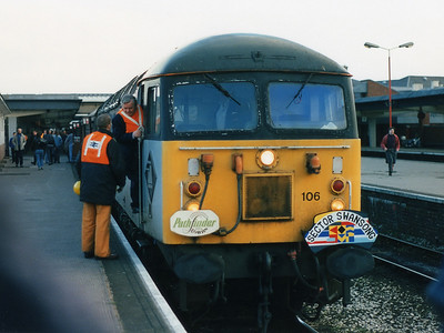 56106 stands at the head of the Sector Swansong railtour at Derby on the 2nd April 1994