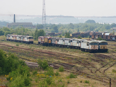 56093 and 56099 await a future in Healy Mills sidings on the 28th July 2008