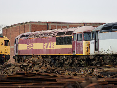 56089 sits in faded EW&S colours at CF Booth on the 14th February 2009