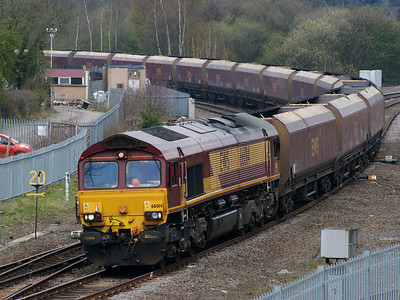 66014 brings a train of coal wagons off the freight only line at Whitacre Junction on the 18th April 2008