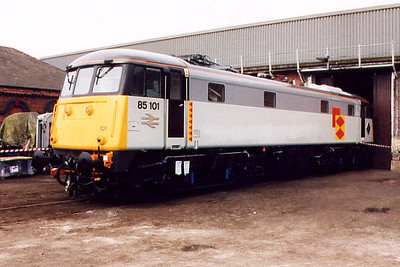 85101 shows off it's new paintwork at Barrow Hill on the 20th April 2002