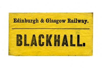 Type E41 Edinburgh and Glasgow Railway pregrouping luggage label to  BLACKHALL.