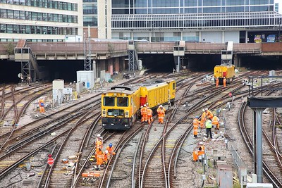Derailed Network Rail grinder outside London Victoria on the 9th July 2019 im8381