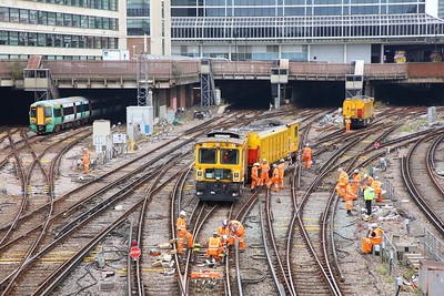 Derailed Network Rail grinder outside London Victoria on the 9th July 2019 im8374