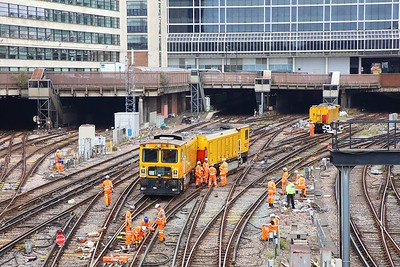 Derailed Network Rail grinder outside London Victoria on the 9th July 2019 im8378
