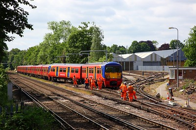 456021 derailed at Strawberry Hill depot with 455741+455917 behind, awaiting a recovery operation on the 30th May 2019