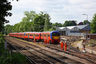 456021 derailed at Strawberry Hill depot with 455741+455917 behind, awaiting a recovery operation on the 30th May 2019 1