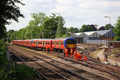 456021 derailed at Strawberry Hill depot with 455741+455917 behind, awaiting a recovery operation on the 30th May 2019 2
