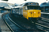 "Class 50 Diesel Locomotive number 50 009 named ""Conqueror"" at London Paddington.<br /> 1984"