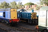 Class 20 Diesel Locomotive number 20 308 with Class 03 Diesel Shunter number 03 066 and Class 20 Diesel Locomotive number D8132 at Barrow Hill Model Rail Live.<br /> 24th September 2010