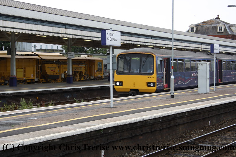 Class 143 2 Car Pacer DMU number 143 617 departs Exeter St Davids with a Barnstaple train.<br /> 28th July 2011