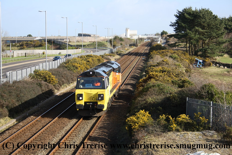 Class 70 Diesel Locomotive number 70 806 passes Carn Brea with 0Z69 0938 Tavistock Junction to Tavistock Junction via Penzance route learning run.<br /> 15th February 2018