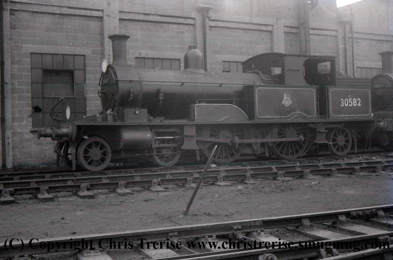 Adams Radial Steam Locomotive number 30582 is seen at Exmouth Junction.<br /> 1960s