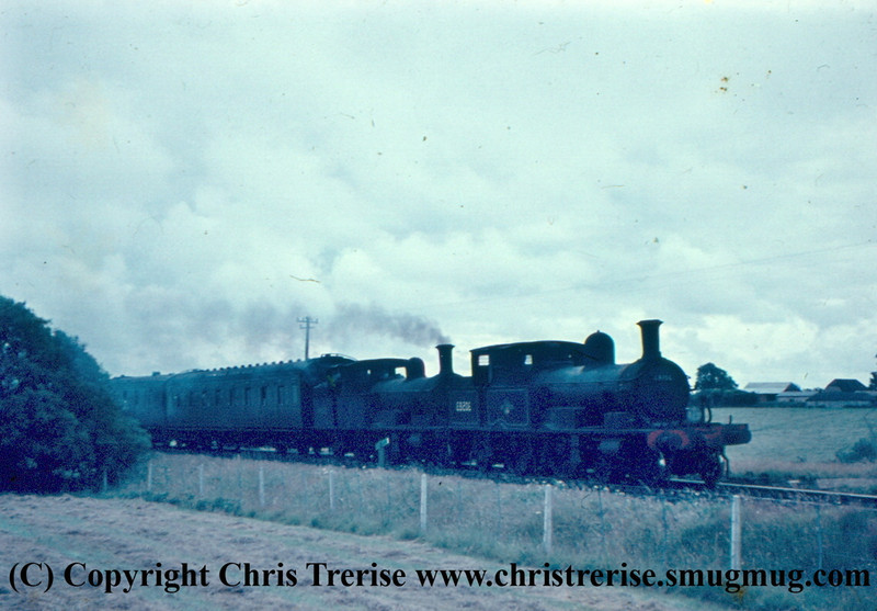 Adams Radial Steam Locomotives numbers 30583 and 30584 pass Combpyne.<br /> 16th June 1960