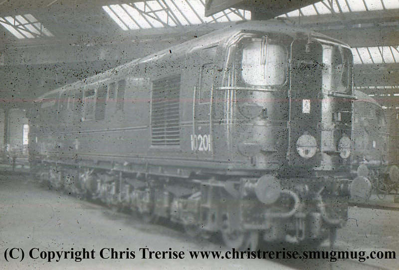 Bulleid Diesel Locomotive number 10201 is seen at an unidentified location.<br /> 1950s