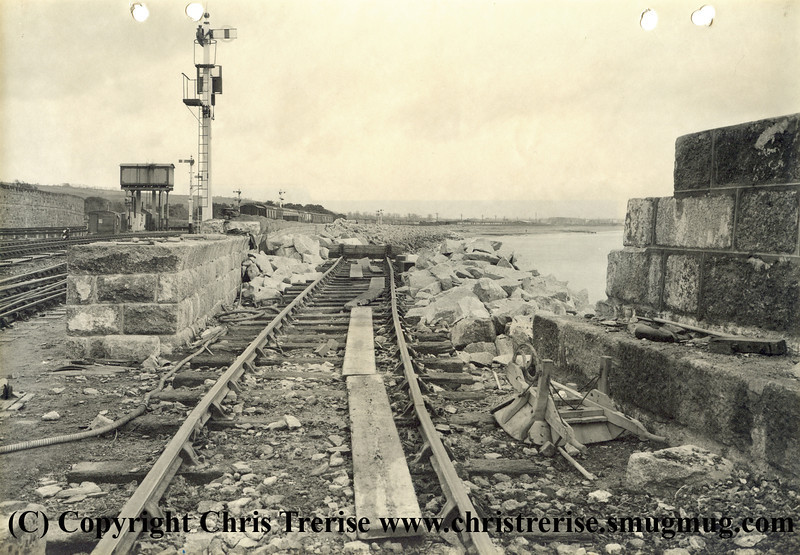 "Penzance station in 1940 showing the rebuilding work to expand the number of platforms well underway. The photograph is stamped on the rear ""GWR Chief Engineer's Office Paddington Photographic Department""<br /> 14th February 1940"