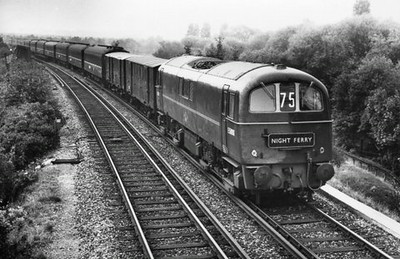 "Class 71 Electric Locomotive number E5000 with the ""Night Ferry"" working.  Official BR Publicity photograph supplied with thanks by Mr G Holmes.<br /> 03.07.5x"