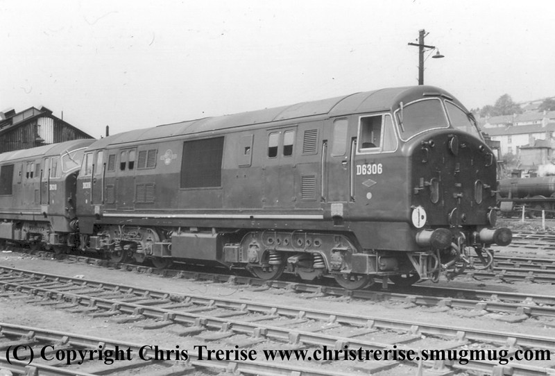 Class 22 Diesel Hydraulic Locomotive number D6306 stabled at Plymouth Laira in front of classmate D6318.<br /> June 1960