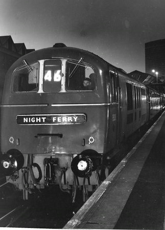 """Class 71 Electric Locomotive number E5015 with the """"Night Ferry"""" service.  Official BR Publicity photograph supplied with thanks by Mr G Holmes.<br /> 21.05.65"""