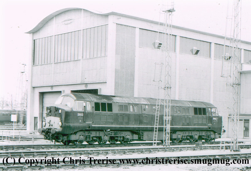 "Class 41 Warship Diesel Hydraulic Locomotive number D603 named ""Conquest"" at Plymouth Laira.<br /> April 1963"