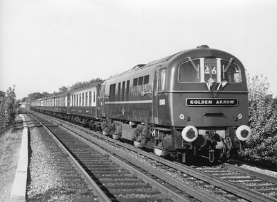 "Class 71 Electric Locomotive number E5015 with the ""Golden Arrow"" Pullman service.  Official BR Publicity photograph supplied with thanks by Mr G Holmes.<br /> 01.11.61"