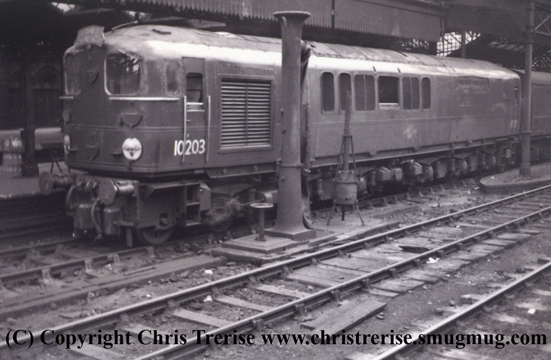Bulleid 1-Co-Co-1 Diesel Locomotive number 10203 at London Euston.  From the David Burdon collection.<br /> Undated