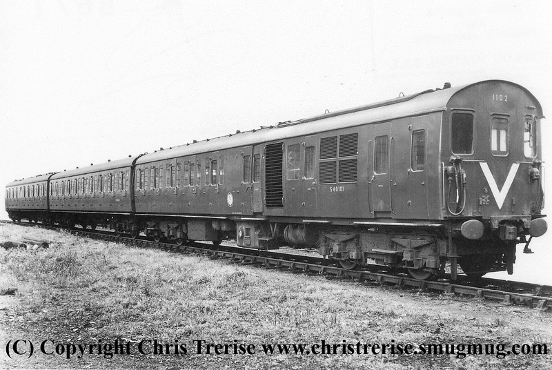 Class 205 3 Car Thumper DEMU number 1102 pictured at Eastleigh Works.  Official BR Publicity Photograph courtesy of Mr G Holmes.<br /> 13th September 1961.