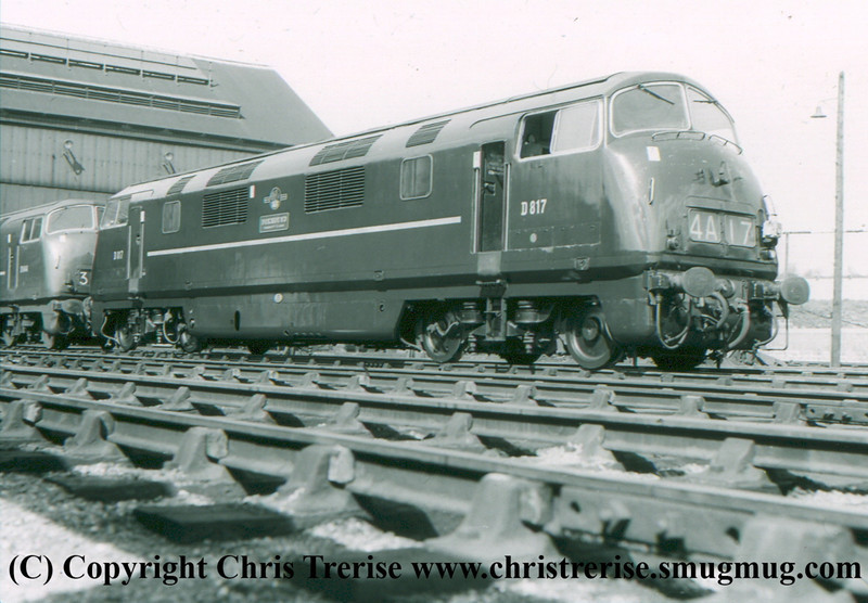 "Class 42 Warship Diesel Hydraulic Locomotive number D817 named ""Foxhound"" at Old Oak Common.<br /> April 1962"