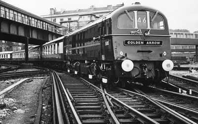 "Class 71 Electric Locomotive number E5015 with the ""Golden Arrow"" Pullman service.  Official BR Publicity photograph supplied with thanks by Mr G Holmes.<br /> 12.06.61"