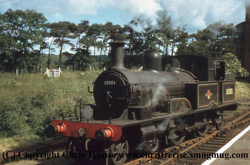 Adams Radial Steam Locomotive number 30583 is seen at Axminster in 1960.<br /> Slide is Copyright of Colour Rail Ref BRS1423