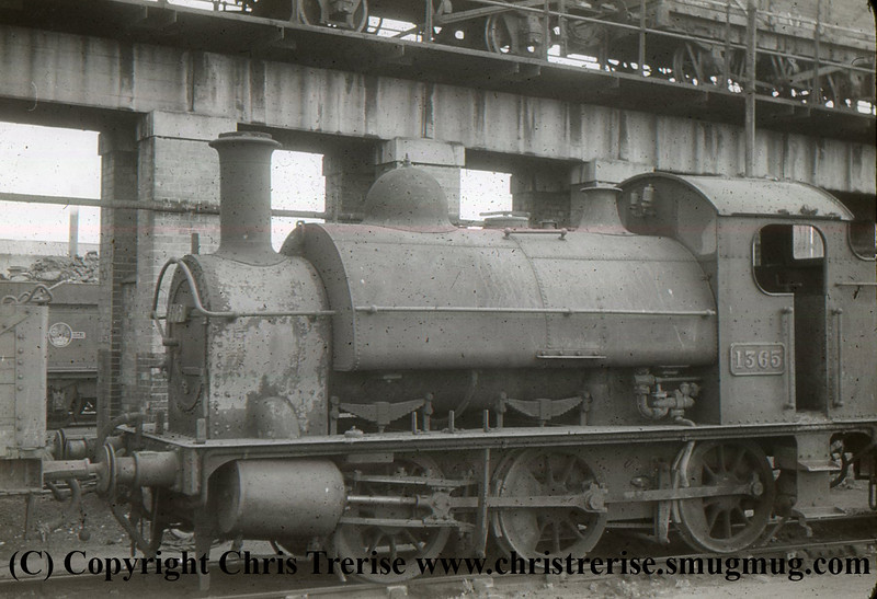 GWR 1361 Class Steam Locomotive number 1365 is seen at St Phillips Marsh depot.<br /> 1950s