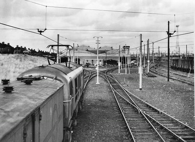 Class 71 Electric Locomotive number E50xx under the wires.  Official BR Publicity photograph supplied with thanks by Mr G Holmes.<br /> 93.10.60