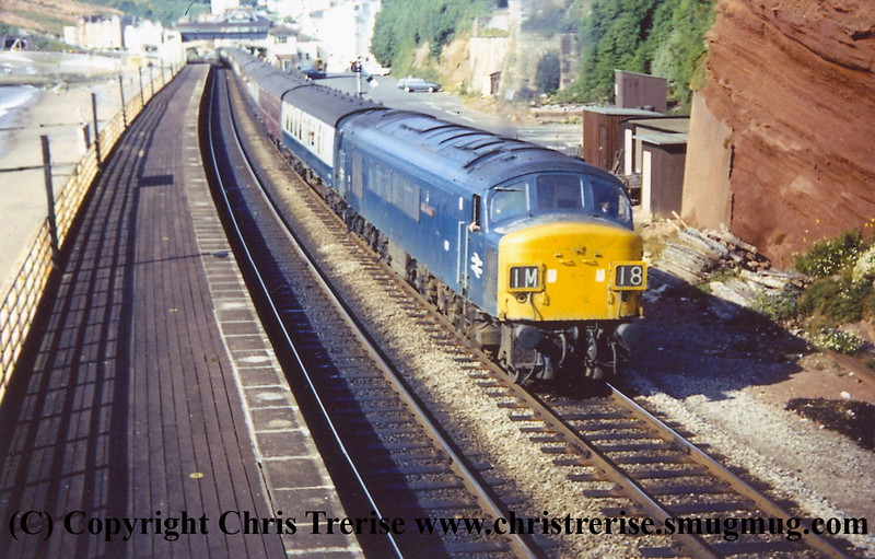 """Class 45/0 Diesel Locomotive number 55 named """"Royal Signals"""" passes Dawlish with 1M18 1520 Penzance to Bristol Temple Meads.<br /> 17h July 1971"""