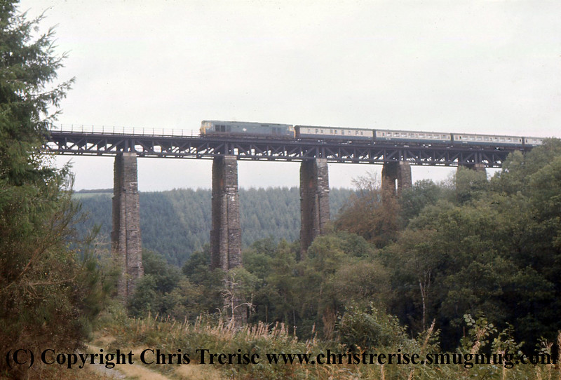 Class 50 Diesel Locomotive number 50 013 crosses Largin Viaduct.<br /> 20th October 1976
