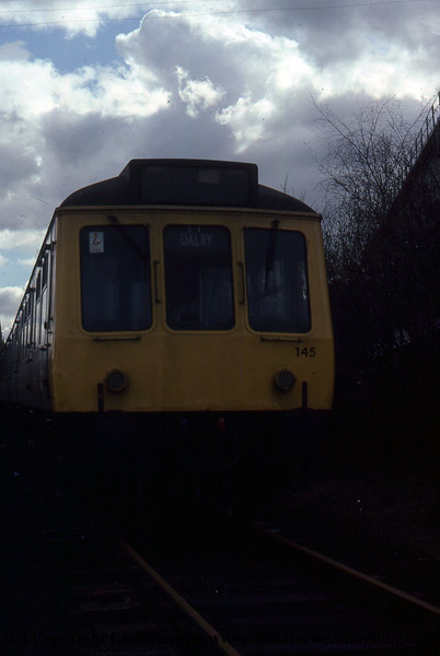 Class 107 3 Car DMU Set number 145 is seen at an unidentified location.<br /> June 1976