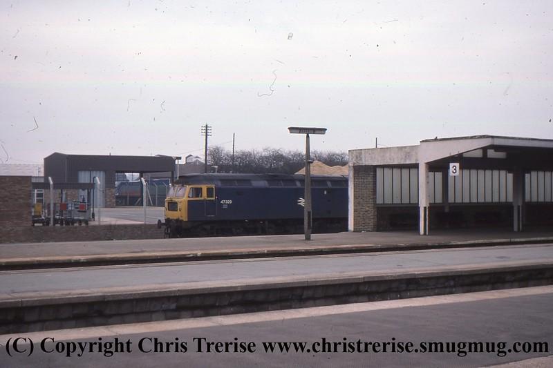 Class 47 Diesel Locomotive number 47 329 at Banbury.<br /> April 1978
