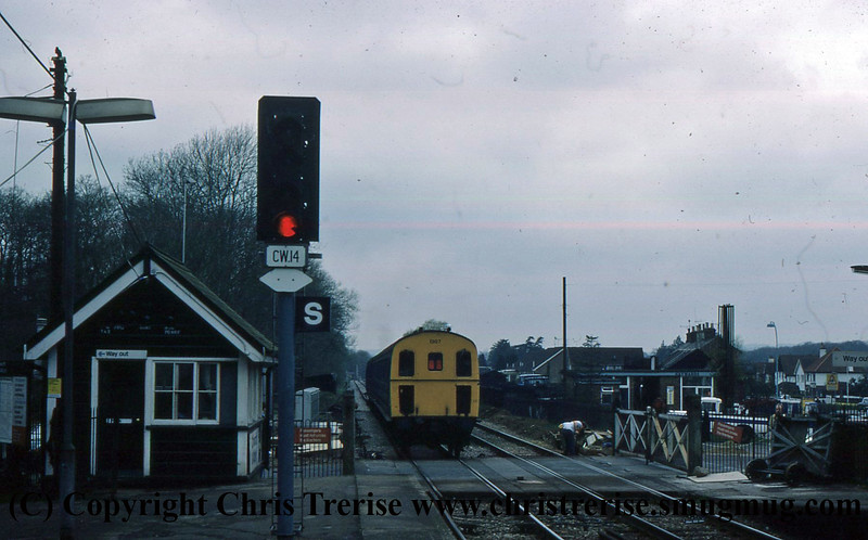 Class 207 3 Car DEMU number 1307 departs Chilworth.<br /> May 1978