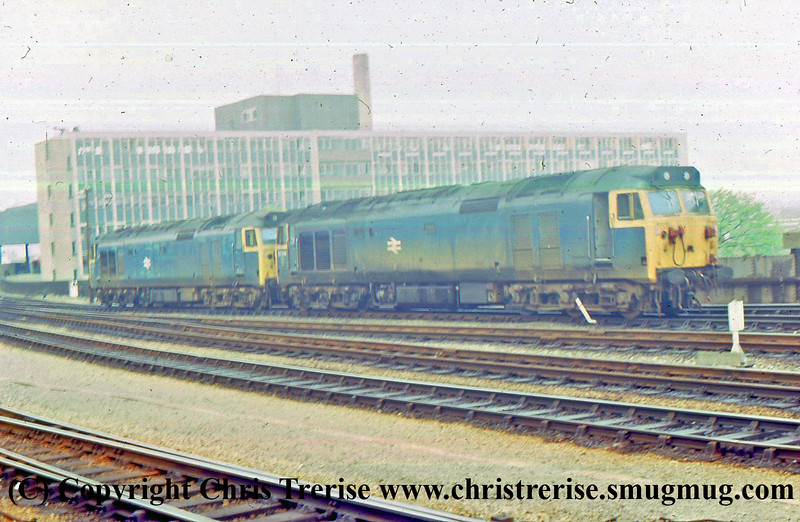 A pair of unidentified Class 50 Diesel Locomotives are seen at Bristol Temple Meads.<br /> June 1978
