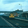 Class 123 3 Car DMU at Barnetby with the 0845 Manchester Piccadilly to Cleethorpes.<br /> 13th March 1979