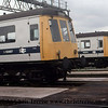 Class 116 DMUs at Tyseley Depot.  M50887 and M50074 await their next duties.<br /> September 1979