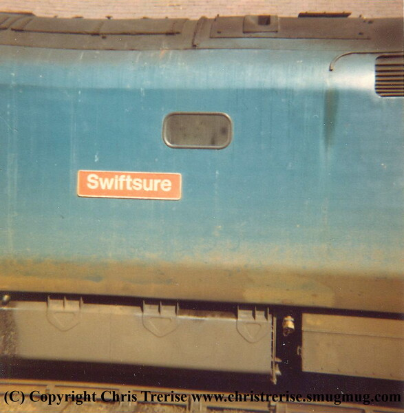 "Class 50 Diesel Locomotive number 50 047 named ""Swiftsure"" at Camborne. After another trip to Cleethorpes, early 1980s"