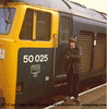 "Class 50 Diesel Locomotive number 50 025 named ""Invincible"" at Camborne in the early 1980s.  Pictured is either Neil or Paul, one of two brothers that came down each year from Newcastle and stayed near us in Mullion."
