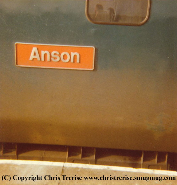"Class 50 Diesel Locomotive number 50 022 named ""Anson"" at Camborne. After another trip to Cleethorpes, early 1980s"