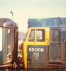 "Class 50 Diesel Locomotive number 50 008 named ""Thunderer"" at Redruth with a Penzance service. Early 1980s probably"
