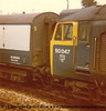 "Class 50 Diesel Locomotive number 50 047 named ""Swiftsure"" at Camborne.  After another trip to Cleethorpes, early 1980s."