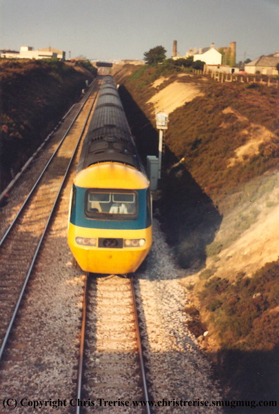 Class 43 HST Power Car heads through Carn Brea with a Penzance bound service in 1984.