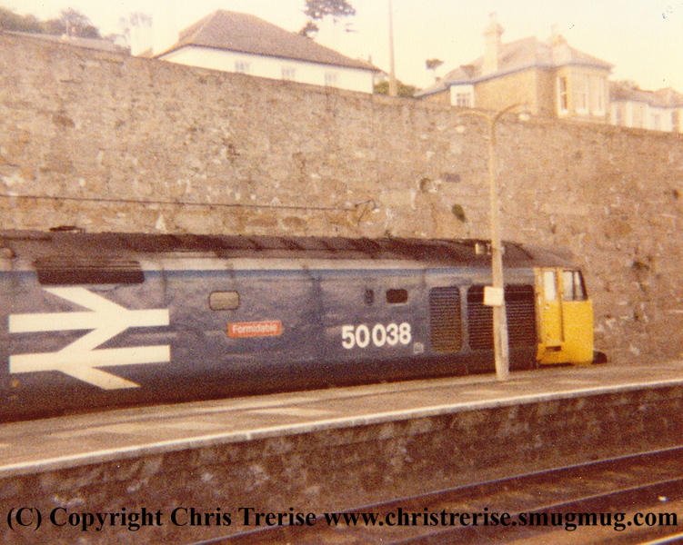"""Class 50 Diesel Locomotive number 50 038 named """"Formidable"""" at Penzance in 1984.  Amazingly this is the only picture I ever took of this loco."""